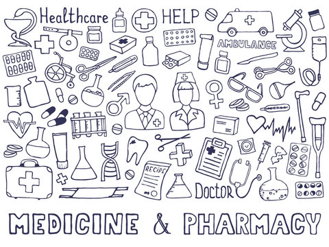 The cutest doodle medicine icon set for your design. Hand drawn Health care, pharmacy, medical cartoon icons collection. Vector illustrations eps 10.