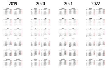 Simple calendar 2019, 2020, 2021, 2022. Simple editable vector calendar 2019, 2020, 2021, 2022 Monday first. Week starts on Monday.