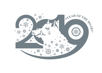 Year of the Boar 2019. New Year's design on the Chinese calendar. Vector template.