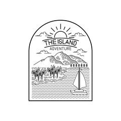 tropical island line art design