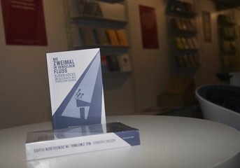 A book of Hoecke of Germany's AFD is pictured at the Frankfurt Book Fair