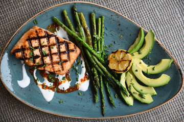 Salmon, asparagus, avocado