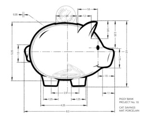 Project - pencil scheme of cute piggy bank. Working sketch of money container in pig  form with dimensions.