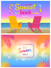 Sunset Beach Party Hot Summer Days Poster Sunbeds