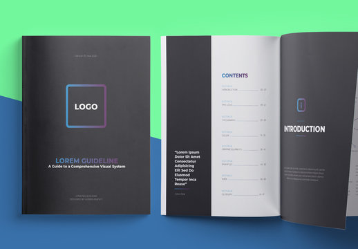 Brand Manual Layout Logo Guideline with Editable Light Blue Header