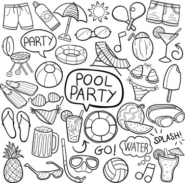 Pool Party Summer Traditional Doodle Icons Sketch Hand Made Design Vector