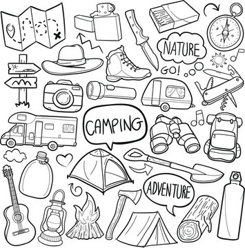 Camping Mountain Traditional Doodle Icons Sketch Hand Made Design Vector