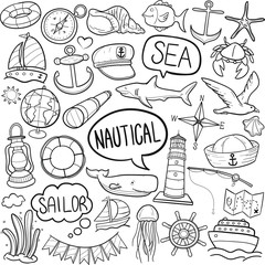 Nautical Sea Life Traditional Doodle Icons Sketch Hand Made Design Vector