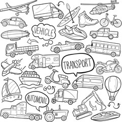 Vehicle Transports Traditional Doodle Icons Sketch Hand Made Design Vector