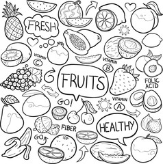 Fruit Vegetable Food Traditional Doodle Icons Sketch Hand Made Design Vector