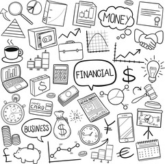 Financial Business Traditional Doodle Icons Sketch Hand Made Design Vector