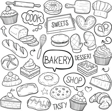 Bakery Pastry Shop Traditional Doodle Icons Sketch Hand Made Design Vector