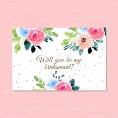bridesmaid card with beautiful floral watercolor