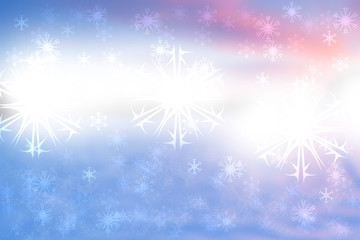 Abstract blurred festive winter christmas or Happy New Year background with falling snowflakes and white bokeh lights. Space for your design. Card concept.
