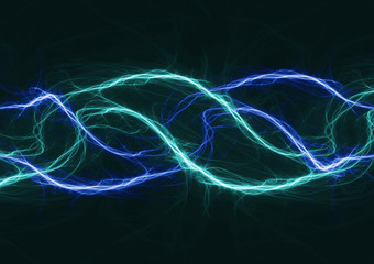 Blue plasma wave, abstract electrical lightning
