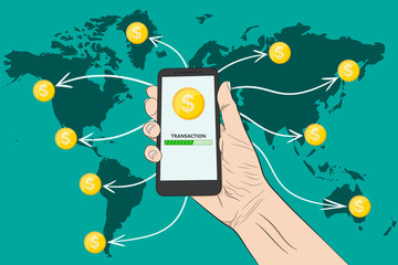 Sending money with a smartphone. . Vector illustration