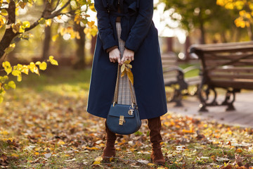 Beautiful fashionable woman walks through the autumn park in a blue coat with a bag in her hands. Details