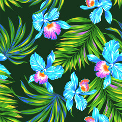 seamless orchids pattern. Vector tropical design. orchids and palms.