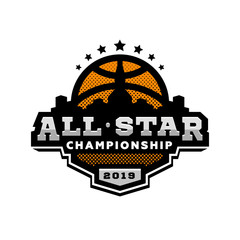 All star basketball, sports logo, emblem. Vector illustration.