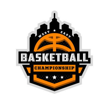 Basketball championship, sports logo, emblem. Vector illustration.