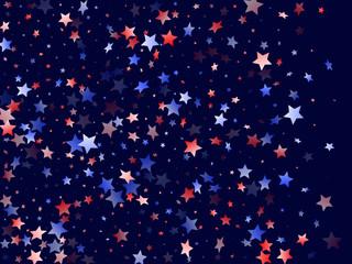 Flying red blue white star sparkles vector
