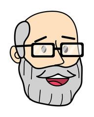 Adult man face cartoon