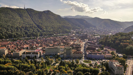 Aerial view of Brasov, tovn in Transylvania, Romania