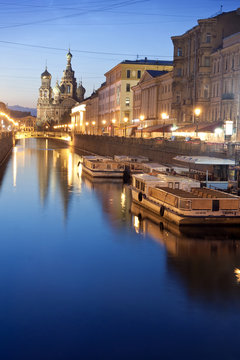 St. Petersburg against clear sky at dusk, Russia