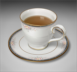 Photorealistic Illustration of a tea cup and saucer
