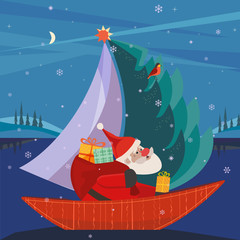 Cute Santa Claus sailing in festive sailboat with Christmas tree, gifts present. Fun boat on lake in snowy mountain valley. Colorful fun cartoon. Vector design for winter holiday season new year event