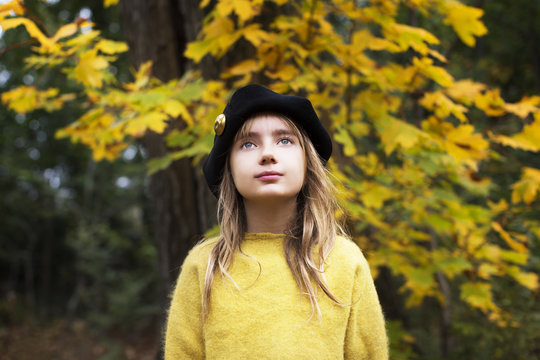 Portrait of girl wearing beret