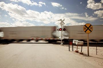 Blurred view of moving train, Nebraska, USA