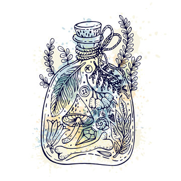 Illustration with potion bottle. Can be used for cards, template, print and etc.