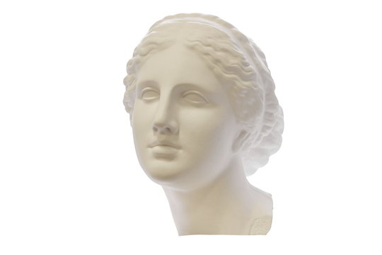 Gypsum head of ancient Greek young woman isolated on white background. For learning drawing.
