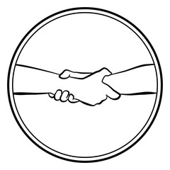 Gripping helping rescuing hands. Isolated round logo outline vector illustration on white background.