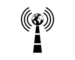 Vector Signal Tower with the World Sign Symbol Icon Logo design Inspiration