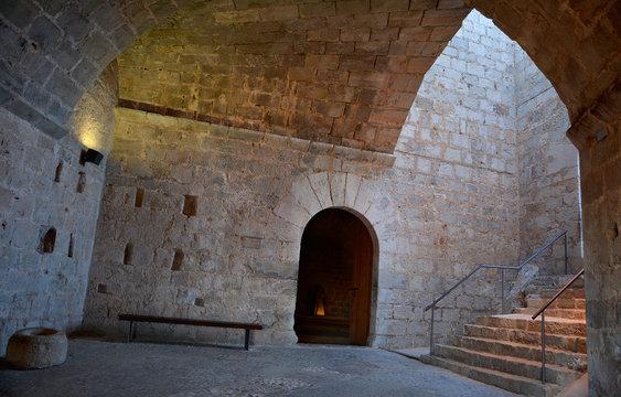 Interior of Peniscola Castle  , Costa del Azahar, province of Castellon, Valencian Community. Peniscola, a popular tourist destination in Spain.