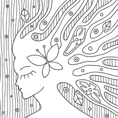 Vector black and white hand drawn illustration of psychedelic woman face with abstract tree, flowers, leaves, dots, butterfly, background Decorative artistic creative picture, line drawing. Coloring