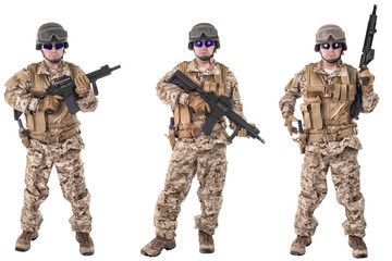Set of military soldiers in camouflage clothes, isolated on white background. Ready for action.