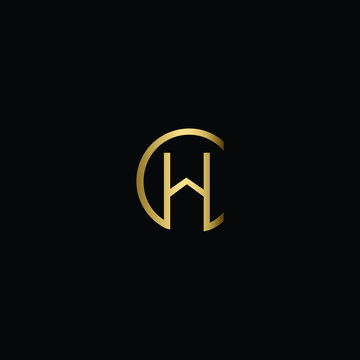 Letter CH House Logo Design, Creative Minimal CH Logo Design Using Letter C H in Gold and Black Color