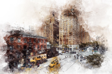 Watercolor - Apartments building in New York City and street