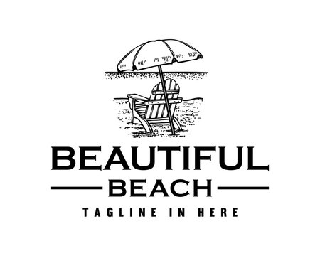 Vector Beautiful Beach with Chairs and Umbrellas Sign Symbol Hand Drawn Company Logo Design Inspiration