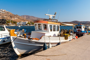 Colorful fishing boat in the port of Livadi. Serifos island, Greece