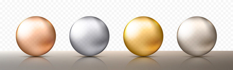 Four realistic transparent spheres or balls in different shades of metallic gold and silver color. Vector illustration eps10