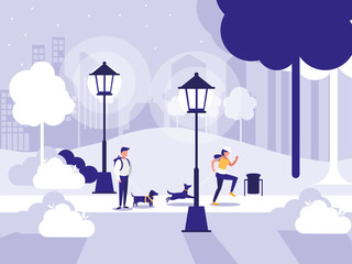 couple in park with lamps isolated icon