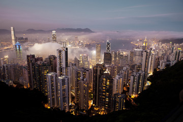 High angle view of illuminated cityscape of Hong Kong