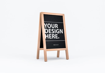 Wooden Menu Board on Easel Mockup