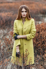 Woman in the dry yellow tundra