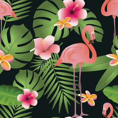Pink Flamingo and Tropical Flowers Background. Vector illustration of exotic  palm leaves seamless floral pattern background. Can be used for web and mobile design.