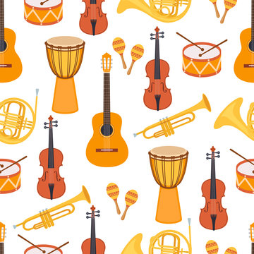Seamless stylish colorful pattern of musical instruments on white background. Violin, djembe, drum, maracas, guitar, saxophone, pipe. Flat style. Vector illustration